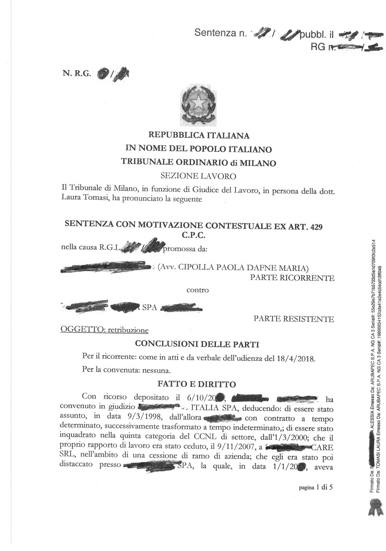 SE  LA CESSIONE DI RAMO D'AZIENDA è ILLEGITTIMA